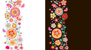 Fronteras florales abstractas inconsútiles Imagenes de archivo