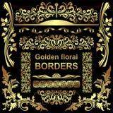 Fronteras florales de oro - sistema Imagenes de archivo