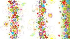 Fronteras florales inconsútiles Imagen de archivo libre de regalías