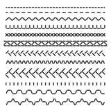 Fronteras inconsútiles cosidas, costuras de la máquina de coser para el sistema del vector de la estructura de la tela aislado Imágenes de archivo libres de regalías