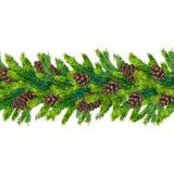 Fronteras inconsútiles de la Navidad de la acuarela de las ramas y de los pinecones del abeto Foto de archivo libre de regalías