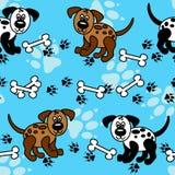 Fronteras inconsútiles de los perros y de los huesos sobre azul ilustración del vector