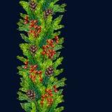 Fronteras inconsútiles de Navidad de la acuarela de las ramas, de los conos y de las bayas del abeto Fotos de archivo libres de regalías