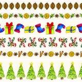 Fronteras inconsútiles del modelo de la Navidad de la acuarela fijadas Fotografía de archivo