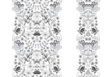 Fronteras inconsútiles del sistema floral para su diseño Ilustración del vector stock de ilustración