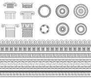 Fronteras, marcos y columnas tradicionales del meandro de la colección étnica griega Imágenes de archivo libres de regalías