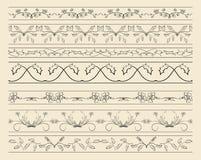 Fronteras ornamentales florales - sistema de decoraciones del vector stock de ilustración