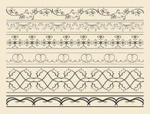 Fronteras ornamentales florales y curvadas - sistema de decoraciones del vector ilustración del vector