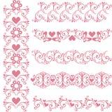 Fronteras rosadas inconsútiles ornamentales Vector fijado con el elemento floral stock de ilustración