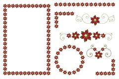 Fronteras y decoraciones del poinsettia de la Navidad Imágenes de archivo libres de regalías