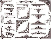 Fronteras y esquinas ornamentales del diseño Imágenes de archivo libres de regalías