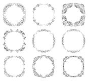 Fronteras y marcos adornados negros Imagen de archivo libre de regalías
