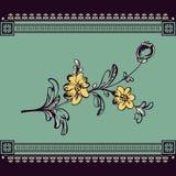 Frontière avec la fleur de fantaisie abstraite Photo stock