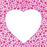 Frontière avec les coeurs lumineux sur le fond blanc Disposition de design de carte de salutation décorée du coeur illustration libre de droits