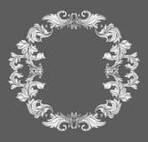 Frontière baroque de cadre de vintage avec l'ornement floral de rouleau de feuille dans la ligne style Photo libre de droits