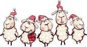 Frontière blanche avec la chèvre de Noël Photographie stock libre de droits
