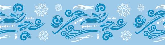 Frontière bleue sans couture avec des flocons de neige et des éléments ornementaux Photographie stock