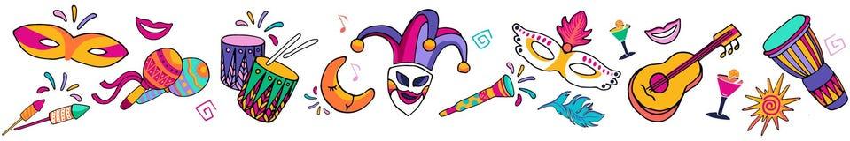 Frontière carnaval de fête sans couture de vecteur coloré lumineux, cadre Les icônes réglées, partie de carnaval décorent Fond de illustration de vecteur