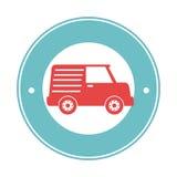 Frontière circulaire avec la vue de côté van vehicle avec des étoiles Photographie stock