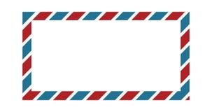 Frontière classique d'enveloppe avec des couleurs rouges et bleues pour le design de carte de salutation, la frontière de papier  illustration stock