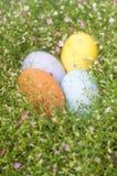 Frontière colorée d'oeuf de pâques par le groupe de fond de fleurs Images stock