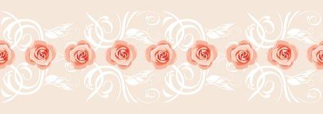 Frontière décorative avec les roses roses pour la carte de voeux illustration stock