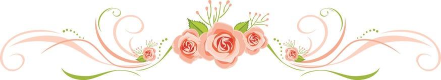 Frontière décorative avec les roses roses pour le design de carte de salutation Image stock