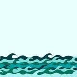Frontière décorative sans couture des vagues de mer illustration libre de droits