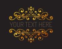 Frontière décorative texturisée d'or tiré par la main Photo libre de droits