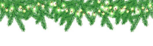 Frontière d'arbre de Noël avec la guirlande Photo libre de droits
