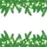 Frontière d'arbre de Noël avec la guirlande Images libres de droits