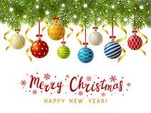 Frontière d'arbre de Noël avec le décor illustration stock