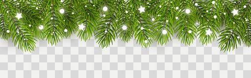 Frontière d'arbre de Noël avec le décor illustration de vecteur