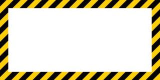 Frontière d'avertissement de couleur de construction jaune et noire de frontière rectangulaire rayée d'avertissement de fond Images stock