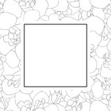 Frontière d'Iris Flower Outline Banner Card sur le fond blanc Illustration de vecteur Illustration Libre de Droits