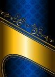 Frontière d'or sur un fond modelé par bleu Images libres de droits