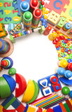 Frontière d'un grand nombre de jouets Photographie stock libre de droits