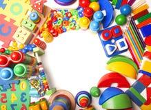 Frontière d'un grand nombre de jouets Photographie stock