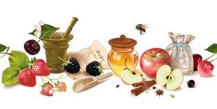 Frontière de cosmétique de fruit et de baie illustration stock