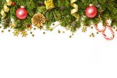 Frontière de décorations de Noël d'isolement sur le fond blanc Photographie stock