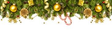 Frontière de décorations de Noël d'isolement sur le fond blanc Photographie stock libre de droits