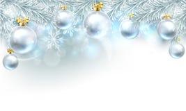 Frontière de dessus de fond de babiole de Noël illustration de vecteur