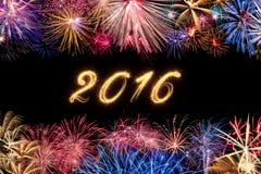 Frontière de feu d'artifice avec la date 2016 Photographie stock