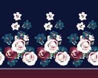 Frontière de fleur de cru sur la marine illustration stock