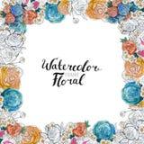 Frontière de fleur d'aquarelle Images stock