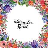 Frontière de fleur d'aquarelle Image stock