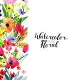 Frontière de fleur d'aquarelle Photo libre de droits