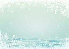 Frontière de flocon de neige avec le fond de collines de neige illustration de vecteur