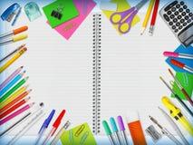 Frontière de fournitures scolaires Photo stock