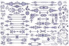 Frontière de griffonnage, élément de décor, flocons de neige Amour d'hiver Photographie stock libre de droits